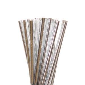 25pc Metallic Foil Straws – Silver