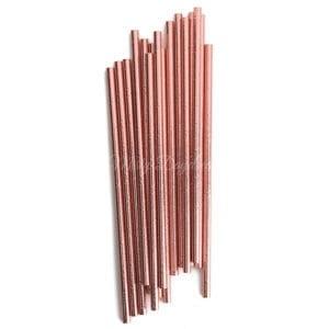 25pc Metallic Foil Straws – Rose Gold