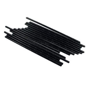 25pc Metallic Foil Straws – Black