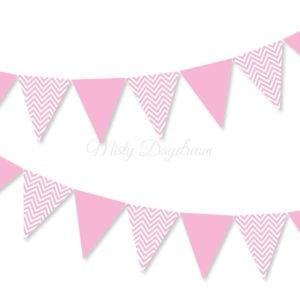 Pink Chevron Bunting Flags