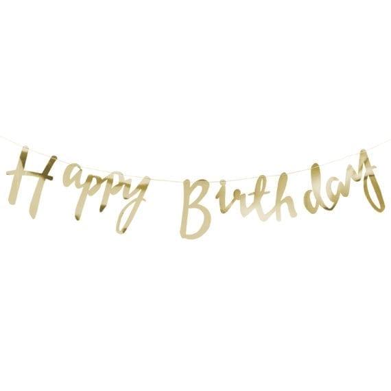9073ef1973538 Gold Script Font Happy Birthday Banner Bunting