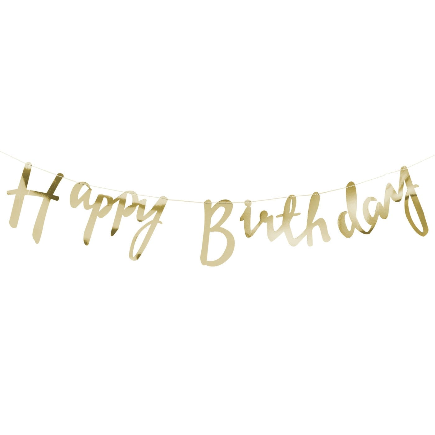 Gold script font happy birthday banner bunting misty