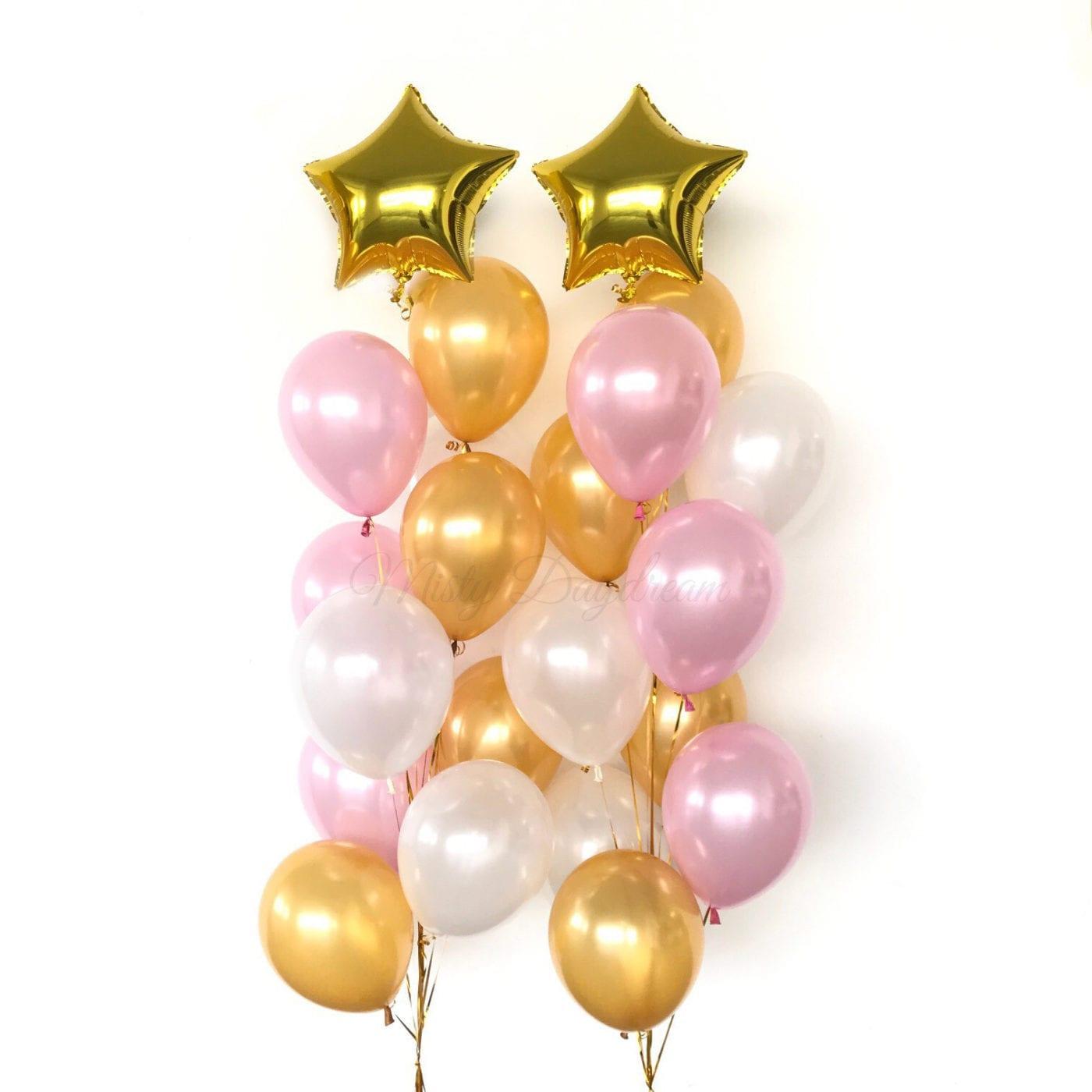 Helium Balloons Star Foil Tri Colors Cascading Bouquet