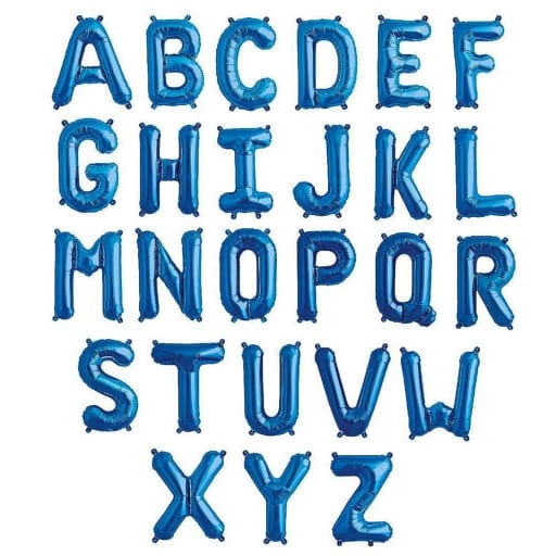 16 Inch Letter Foil Balloons Blue Hanging Sleek Font