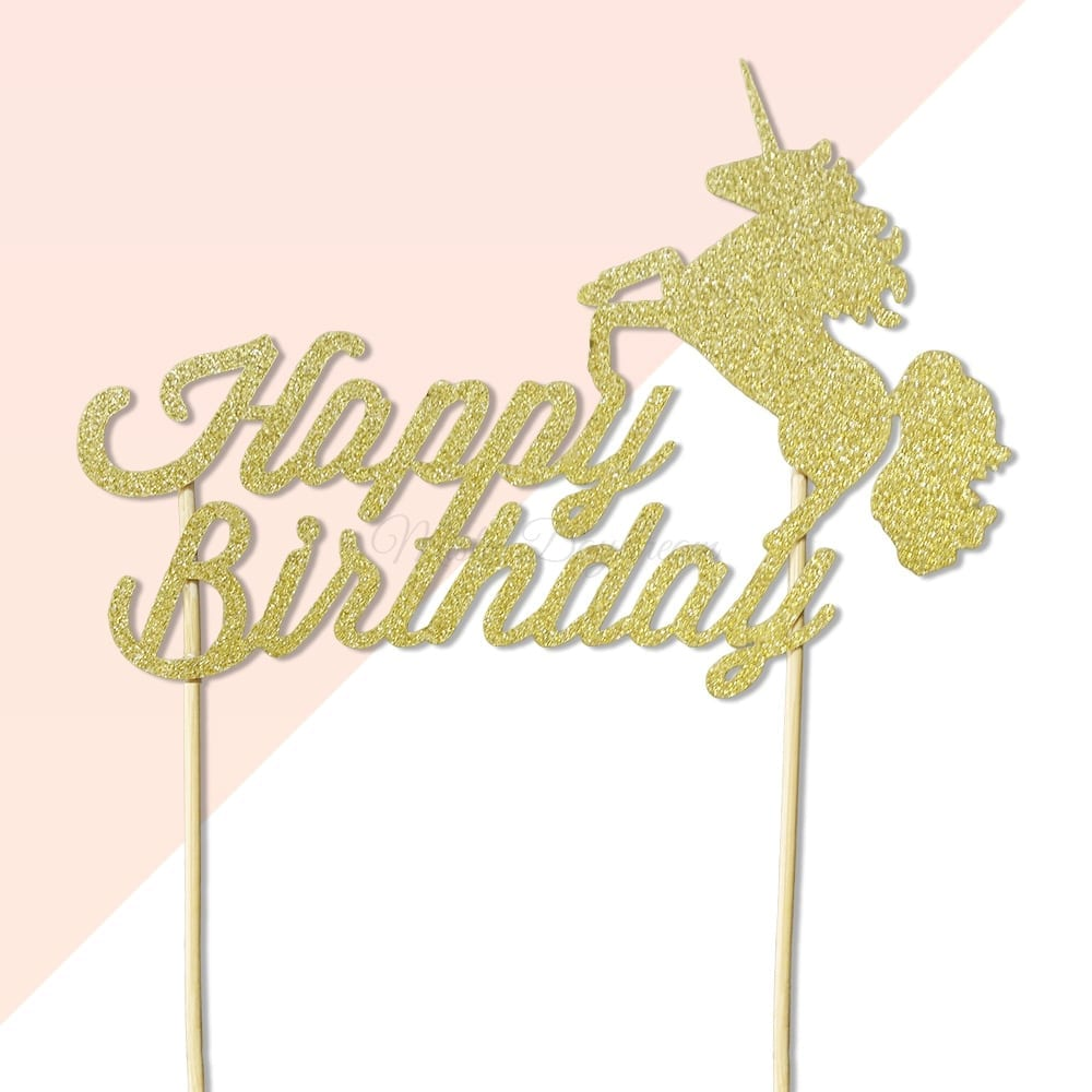 Happy Birthday Unicorn Gold Glitters Cake Topper