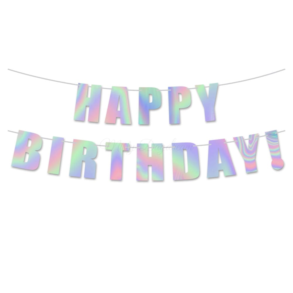 Holographic Iridescent Foil Happy Birthday Banner