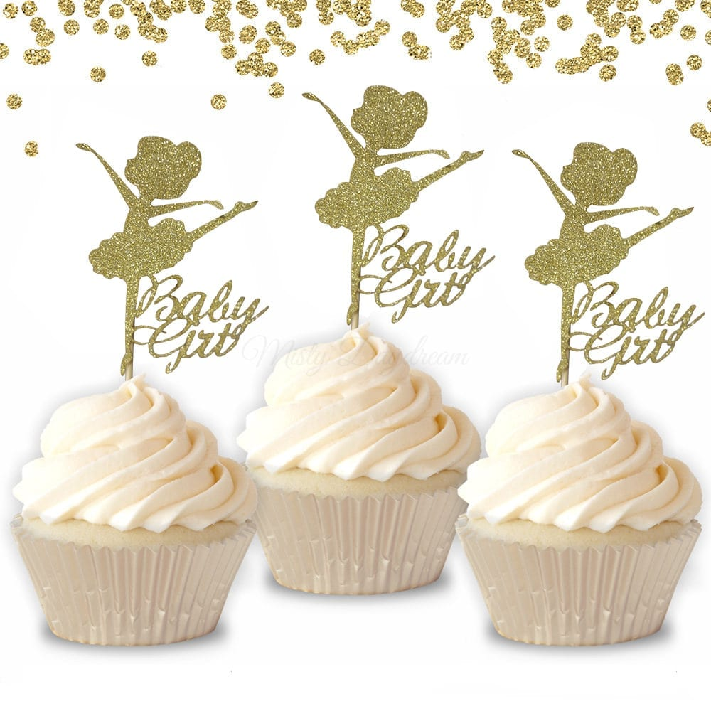 Ballerina Baby Girl Princess Theme Cupcake Toppers 6pcs pack 91ebe740b2dc