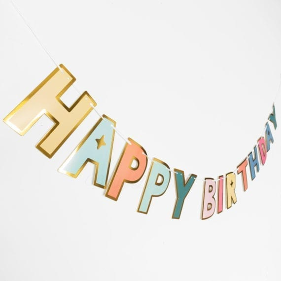 Gold Outline Rainbow Colours Happy Birthday Lettering