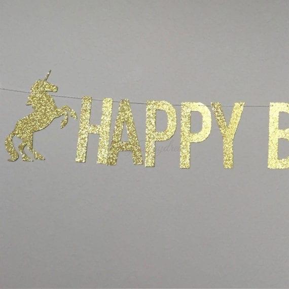 *Unicorn Happy Birthday Gold Glitter Lettering Banner