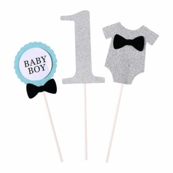 Baby Boy Number 1 Cutout Suit Cupcake Toppers 3pcs Pack