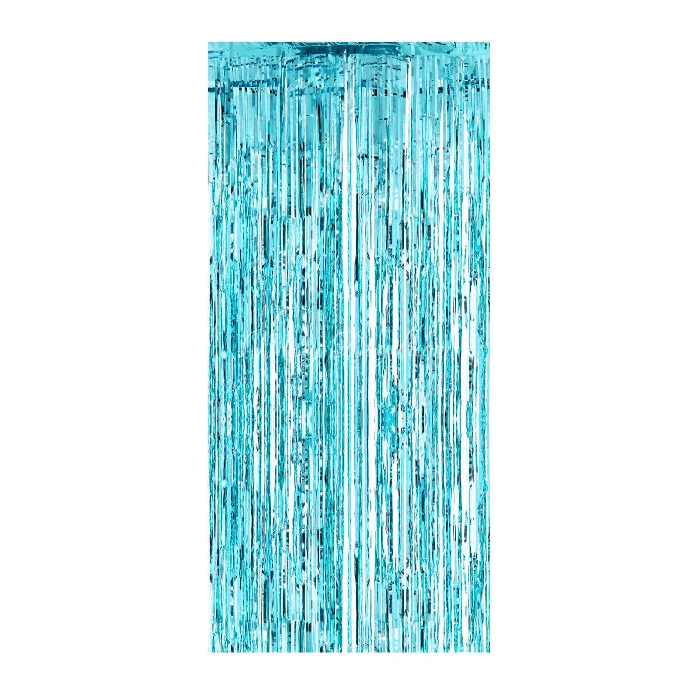 Home By Theme Frozen Metallic AQUA Tinsel Curtain Backdrops 200cm X 100cm