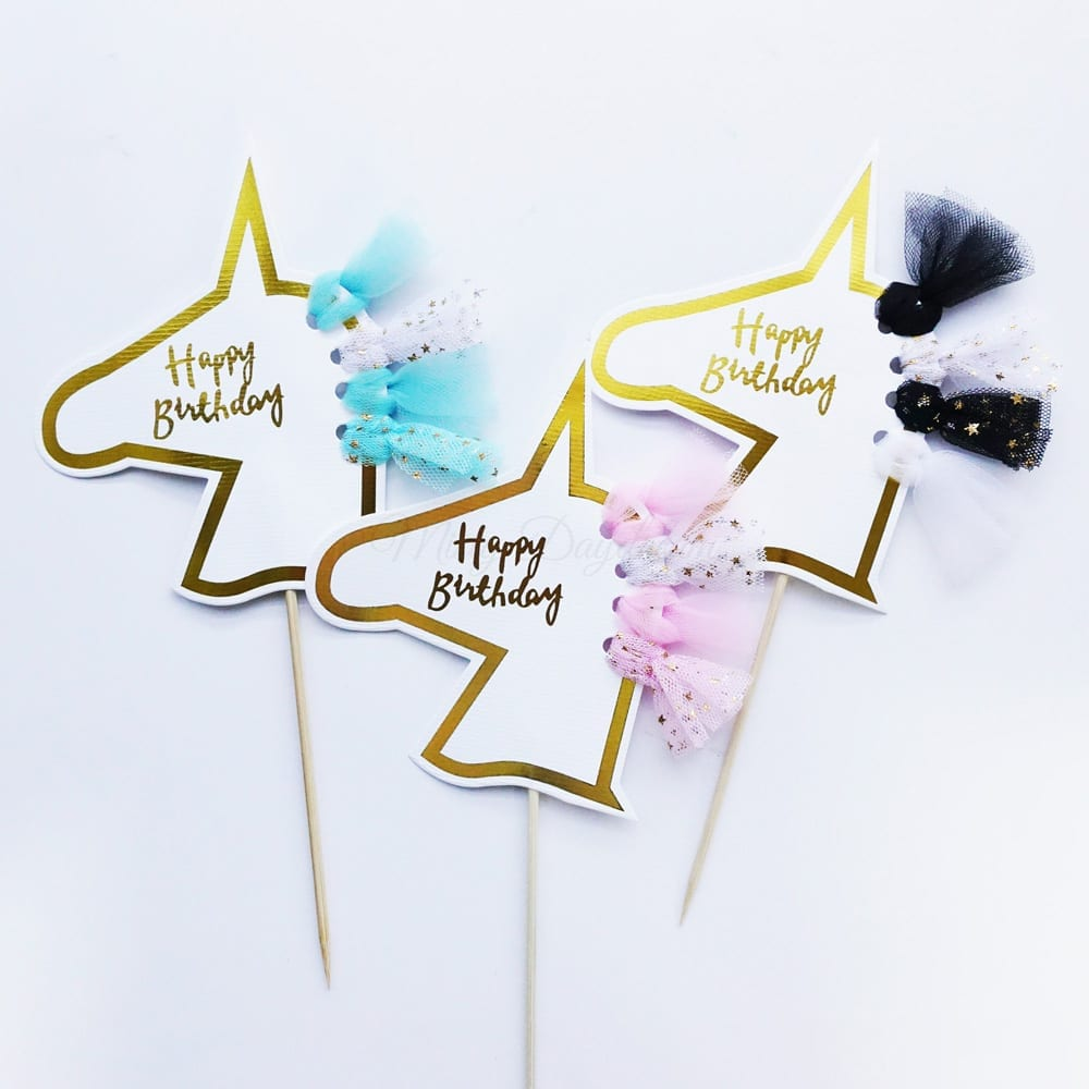 Happy Birthday Unicorn Head Tutu Cake Topper Pink