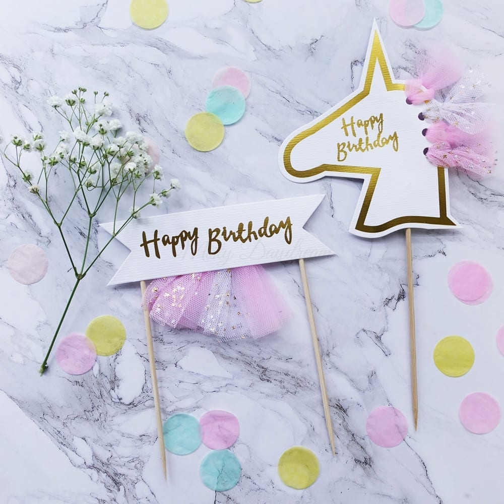 Happy Birthday Unicorn Banner Tutu Cake Topper