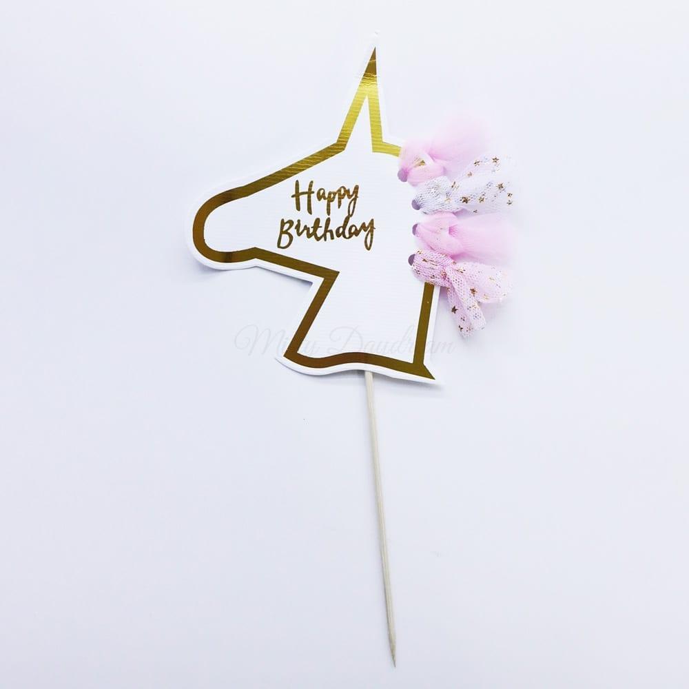 Happy Birthday Unicorn Head Tutu Cake Topper