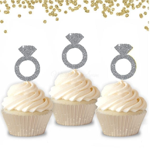 12 DIAMOND RING HEARTS GLITTER CUPCAKE TOPPERS WEDDING HEN DO BRIDAL SHOWER