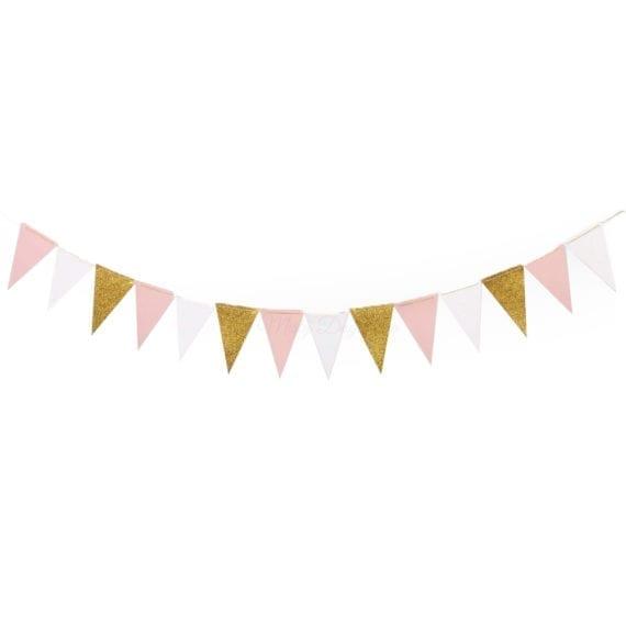 Blush Pink Gold White Flag Bunting Banner Garland