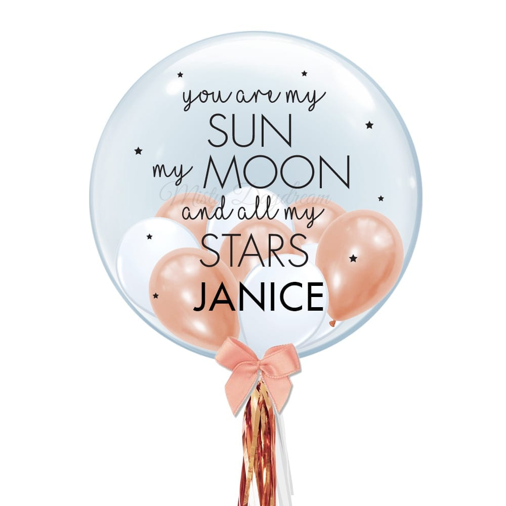V Day Rose Gold Themed 24 Inch Personalized Name Bubble