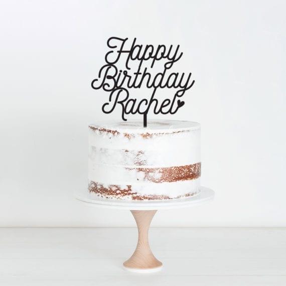 Happy Birthday Custom Name Design 5 Cake Topper