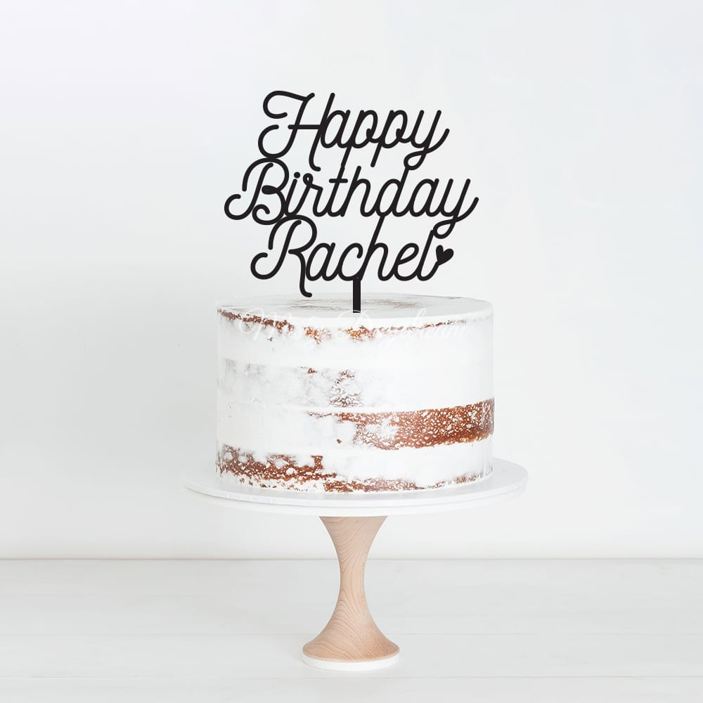 happy birthday custom name design 5 cake topper misty daydream