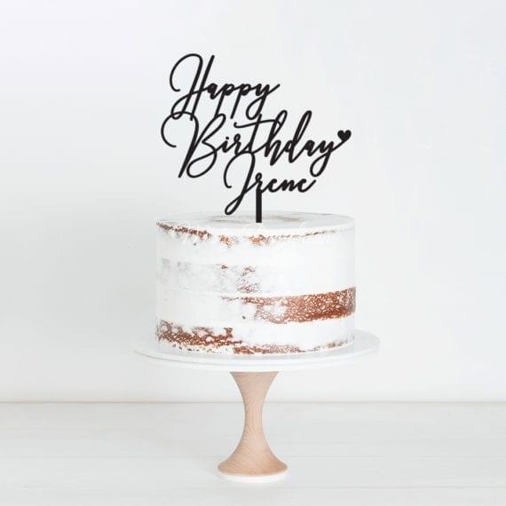 Happy Birthday Custom Name Design 8 Cake Topper