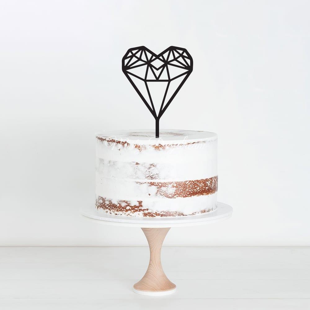 Wedding Cake Topper.Geometric Heart Cake Topper