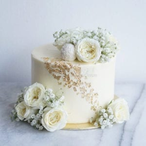 Floral Gold Pleated Cake