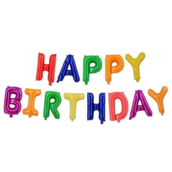 happy birthday letter 16 inch happy birthday letter foil balloons banner funky 22083 | Funky Rainbow Happy Birthday 570x570