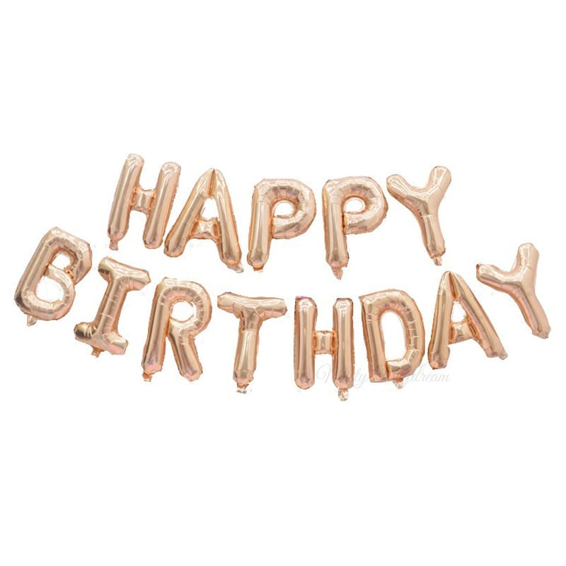 16 Inch HAPPY BIRTHDAY Letter Foil Balloons Banner Rose Gold