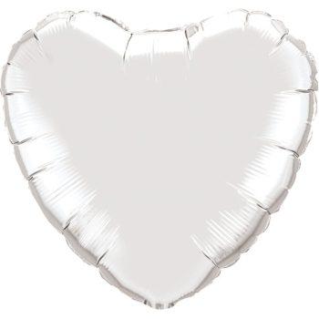 Silver Heart Foil balloons