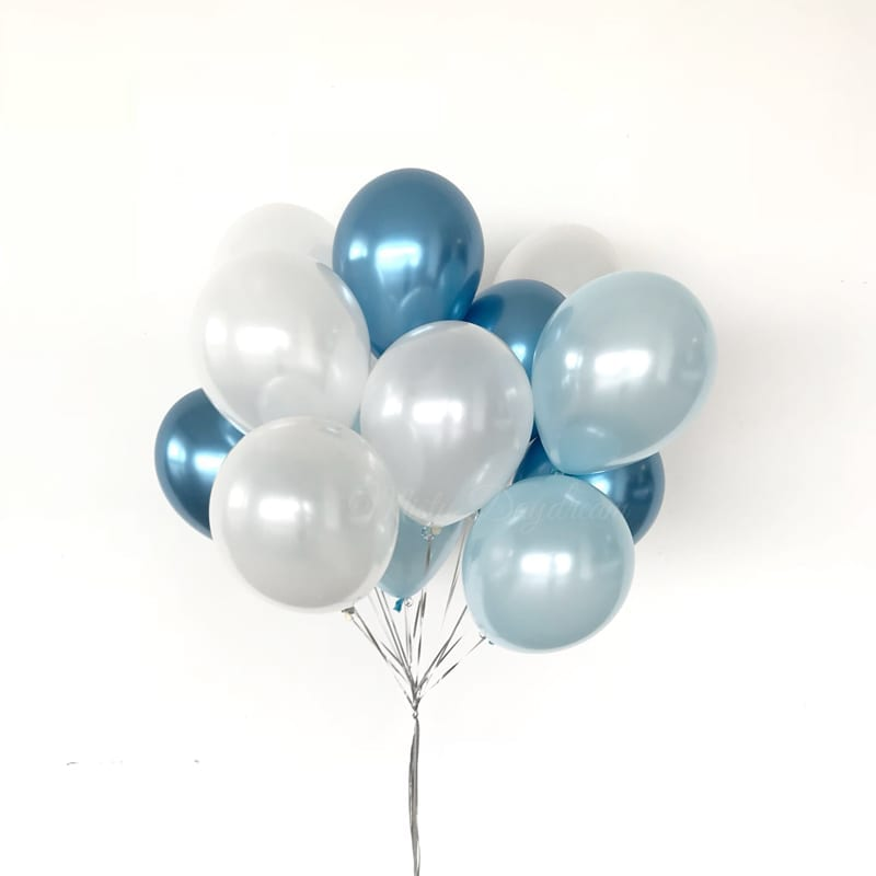 Helium Balloons Bouquet Pearl Light Blue White Chrome