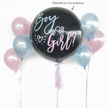 36 Inch Helium Inflated Gender Reveal Confetti Mini Balloons Stuffed Giant Balloon 2 Side Bouquet Combo