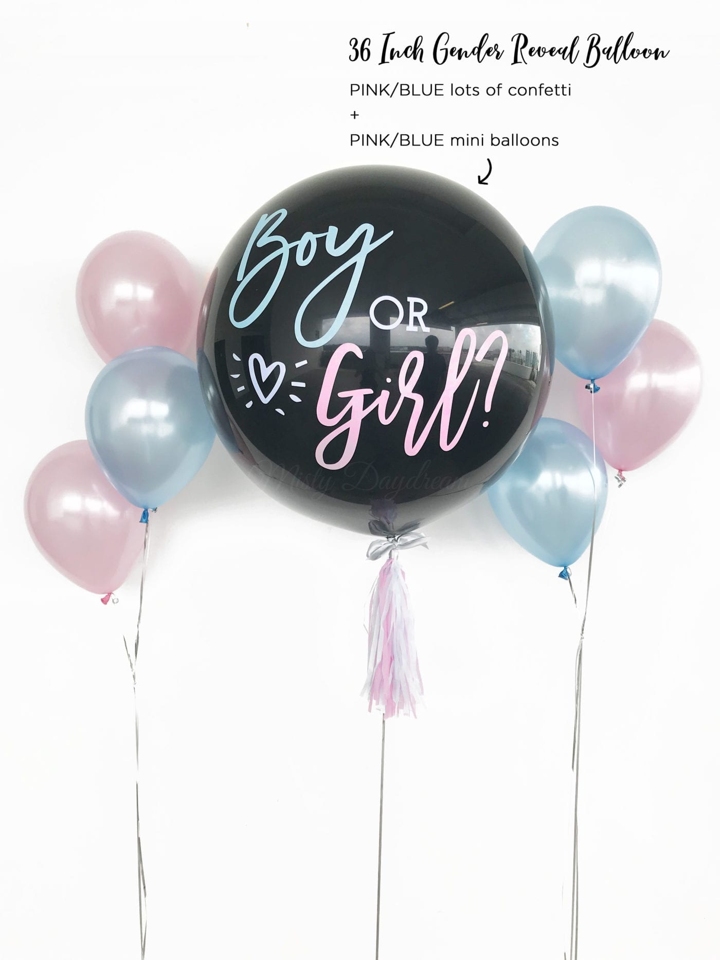 36 Inch Helium Inflated Gender Reveal Confetti Amp Mini