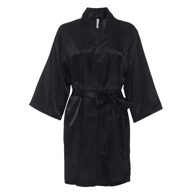 Personalised/ Plain] Satin Bridal Robe - Black - Misty Daydream