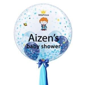 Blue confetti customised balloons