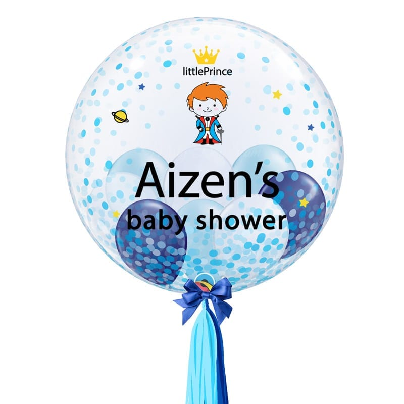 Blue Confetti 24 Inch Personalized Bubble Balloon