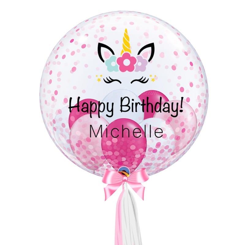 Pink Confetti 24 Inch Personalized Bubble Balloon