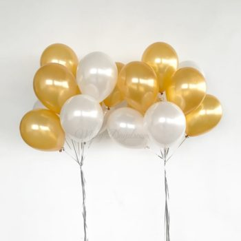 Helium Balloons Bouquet Pearl Gold White