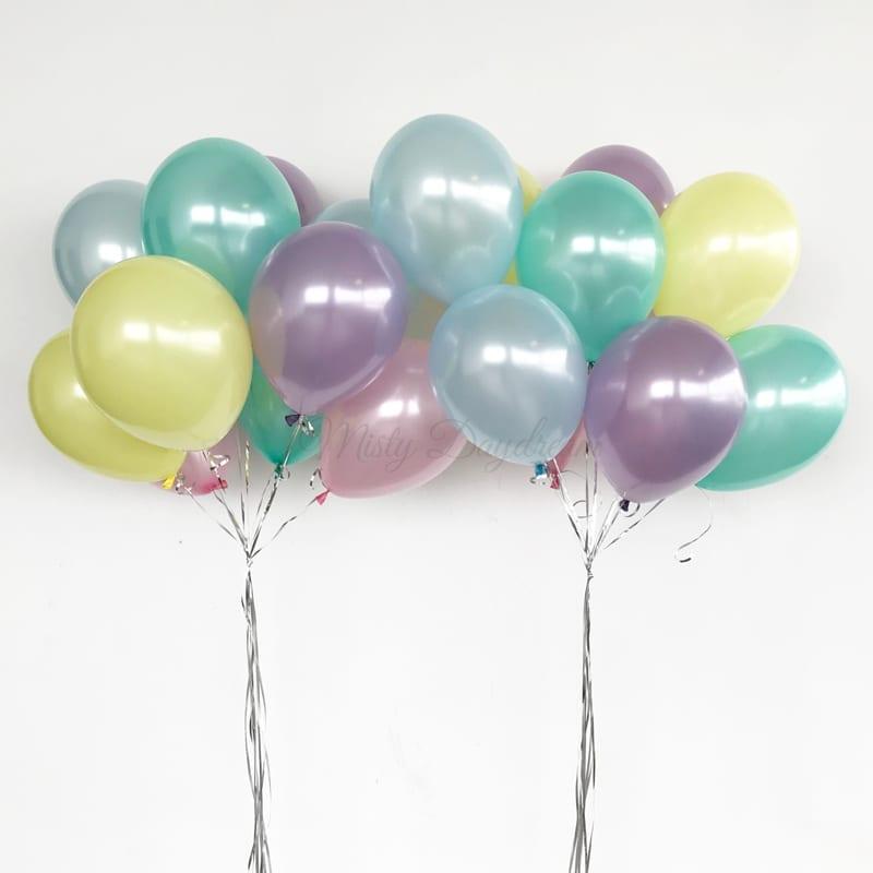 Helium Balloons Bouquet Pearl Light Blue Pink Mint