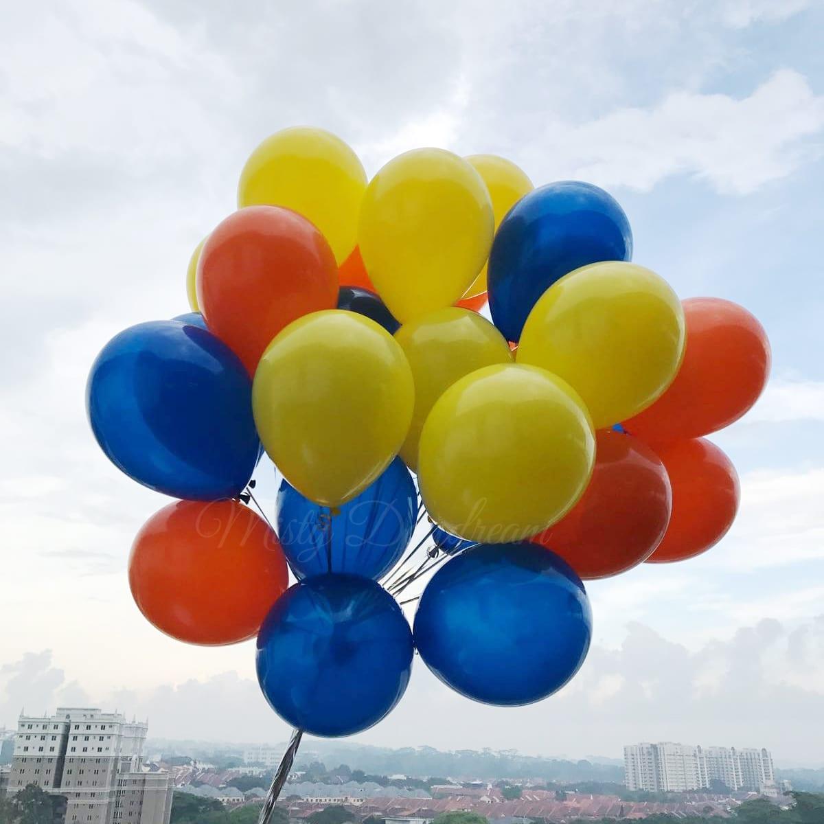 Helium Balloons Bouquet Fashion Dark Blue Yellow