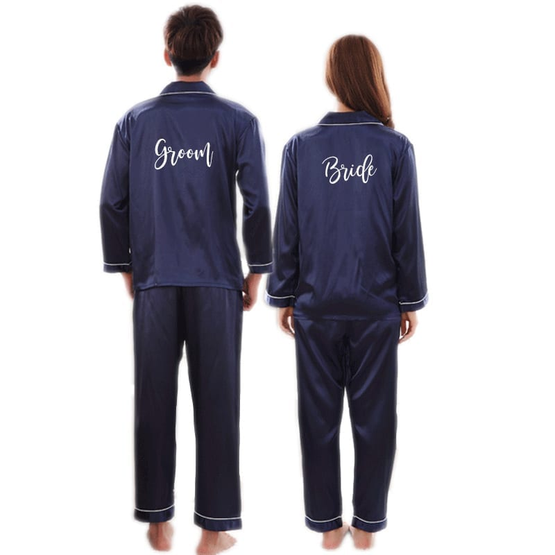 75ab08963c4bc [Personalised/ Plain] Satin Two Piece Sleepwear Men/ Women - Midnight Blue