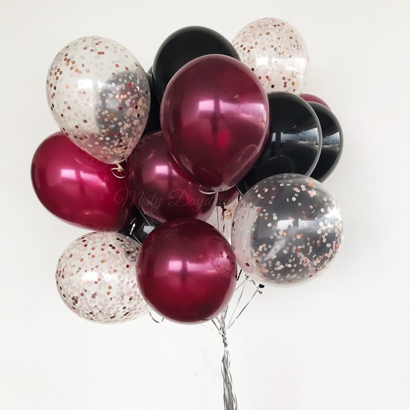 Helium Balloons Bouquet Pearl Burgundy Black Confetti Rose Gold Misty Daydream
