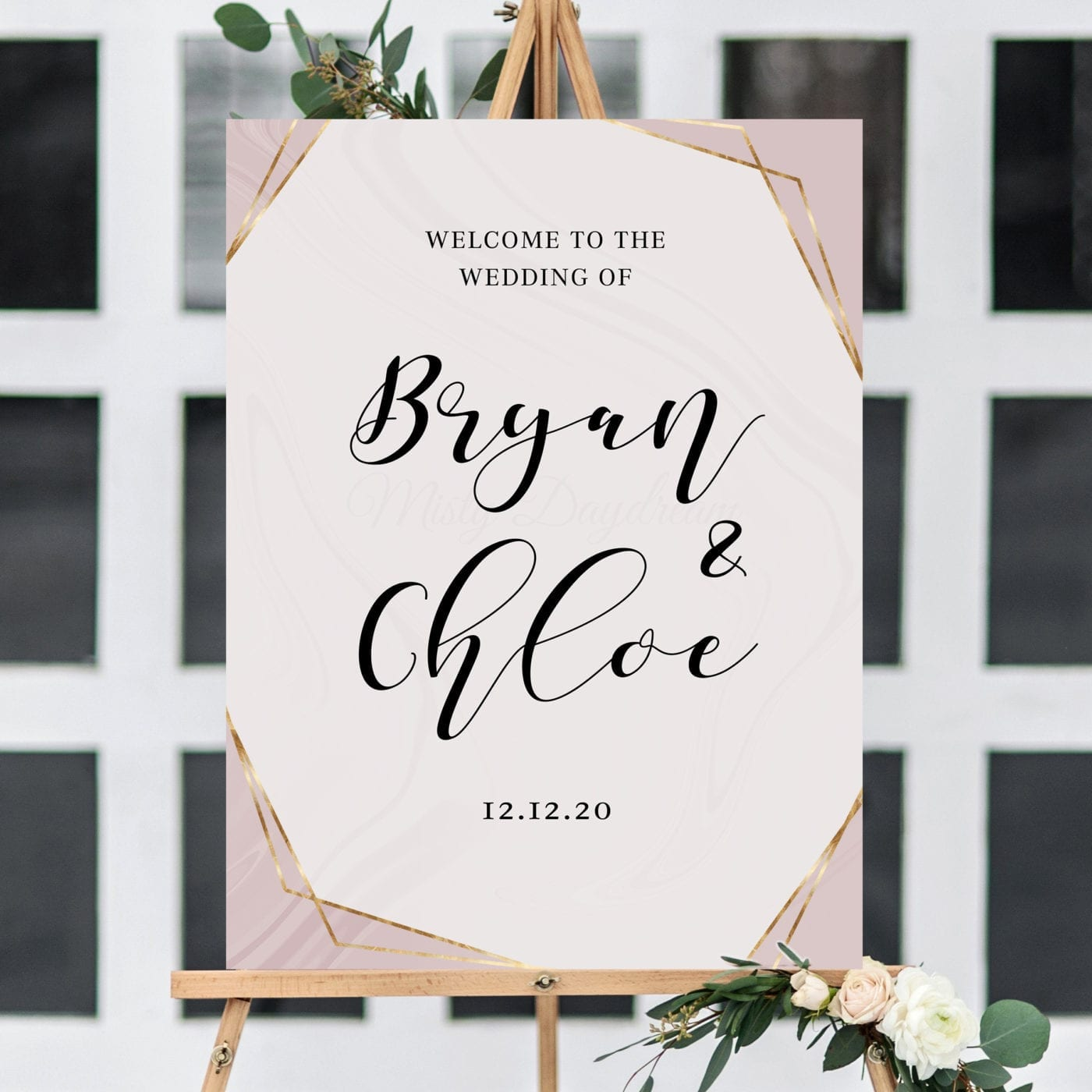 Wedding Welcome Sign - Design 16 Blush (Foam Board) - Misty Daydream
