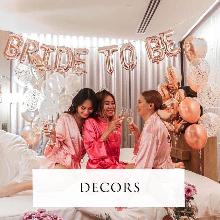 Bridal decorations and balloons
