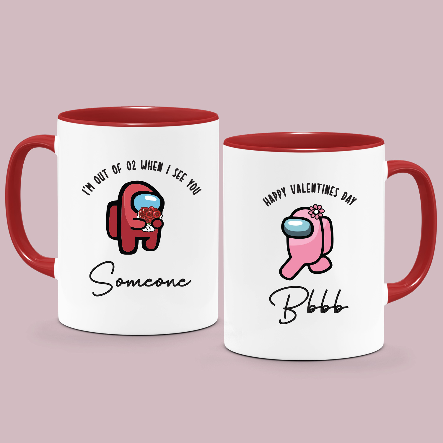 Personalised Name Valentine S Day Collection Custom Name Printed Mugs Among Us Design Couple Mugs Misty Daydream